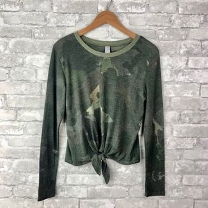 Alternative Apparel Camouflage Knot Front Top